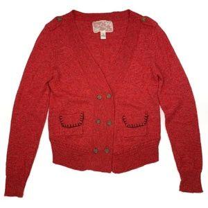 Red Wool Cardigan Button Anthropologie Nick & Mo